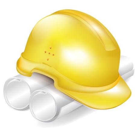 Chapeau de construction et les plans sur papier sur blanc Banque d'images - 11655476