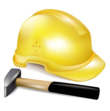 construction hard working hat and hammer Vector
