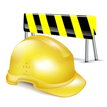 traffic control: construnction casco duro  el sombrero y la barrera de signo la atenci�n Vectores