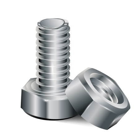 bolts and nuts: screw and metal nut isolated on white background Illustration