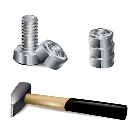 man nuts: hammer, screw and metal nut on white background
