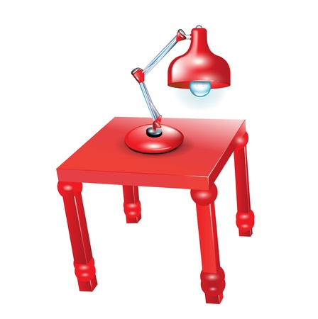 desk lamp: red lamp on red decorative table
