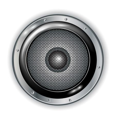 musica electronica: altavoces de audio aislado en blanco