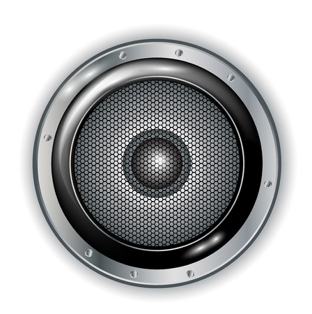 electronic music: audio speaker isolated on white