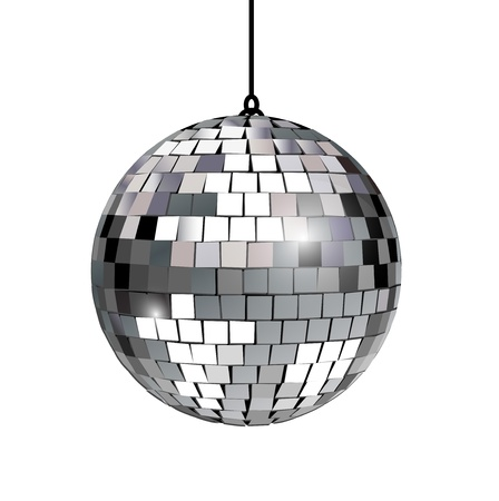 glitter ball: disco party ball on white