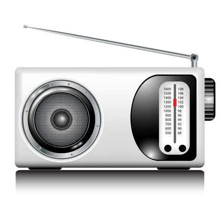 entertainment icon: retro white radio on white