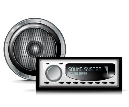 오디오: 흰색에 스피커와 자동차 오디오 플레이어