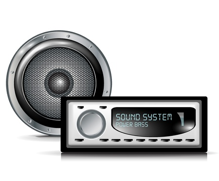 fm radio: speaker and car audio player on white