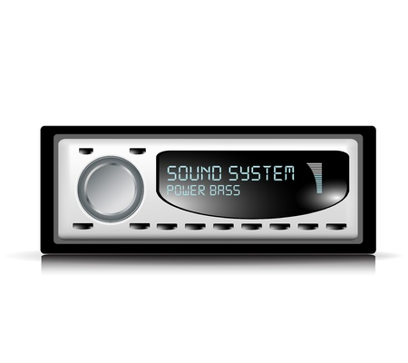 audio car player illustration on white Vector