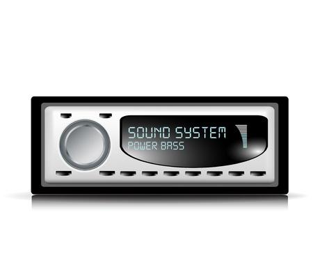 equipo de sonido: de audio del coche ilustración jugador en blanco Vectores