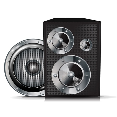 two black audio speakers isolated Vector