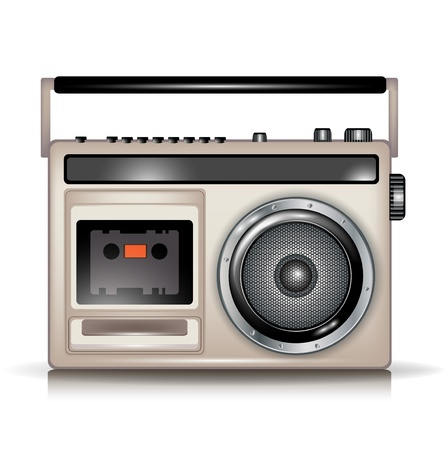 boombox: retro cassette music player on white