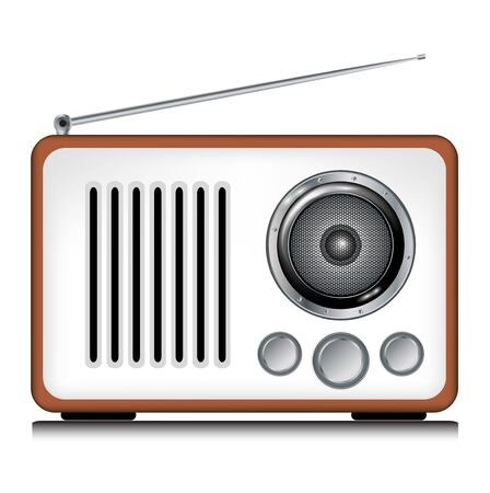 single retro radio player on white Stock Vector - 11655459