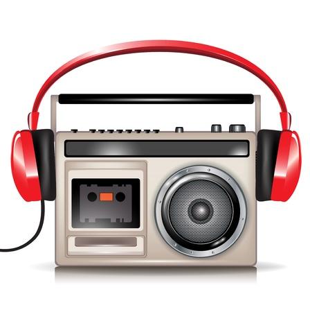 portable radio: casette retro reproductor de m�sica y auriculares rojos Vectores