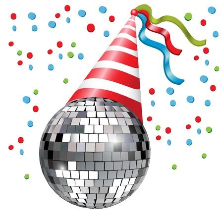 party dj: boule de disco avec le parti chapeau et conffetti Illustration