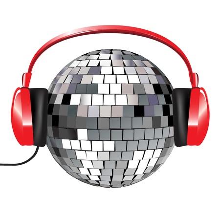 audifonos: bola de discoteca con m�sica de los auriculares de color rojo sobre fondo blanco Vectores