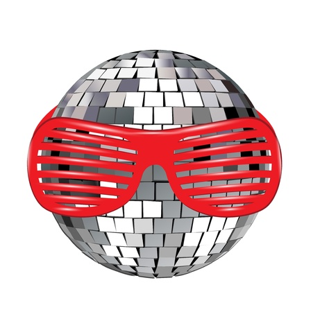 70s disco: disco ball with red funky glasses on white