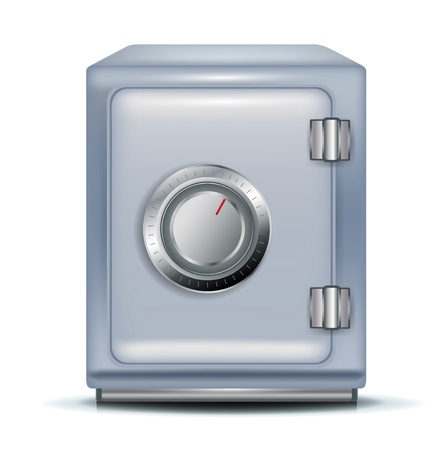 single closed safe on white Vector