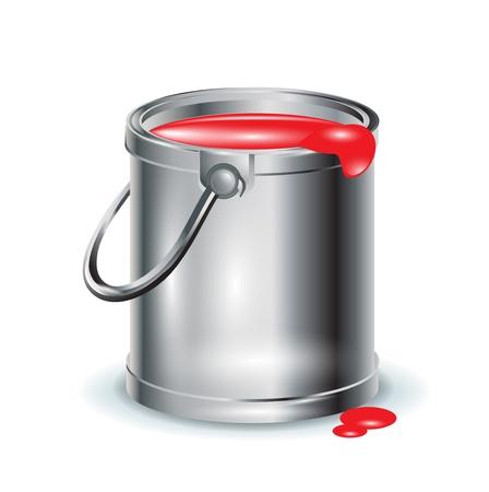 single red paint aluminum bucket on white Stock Vector - 11655489