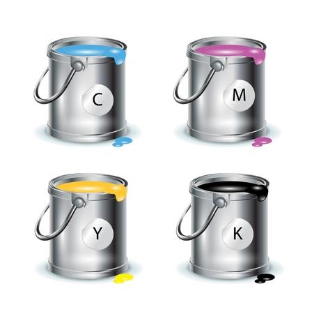 verfblik: kleurendruk; individuele emmers met verf op wit Stock Illustratie