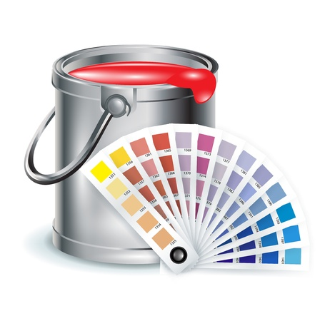 offset: art and decoration items; pait bucket with color chooser