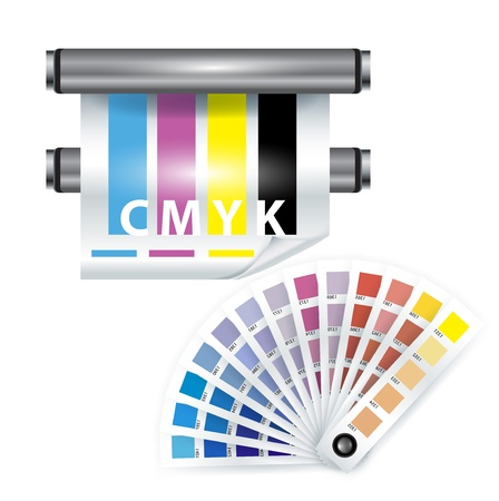 color print items; color chooser and printer on white Stock Vector - 11655492