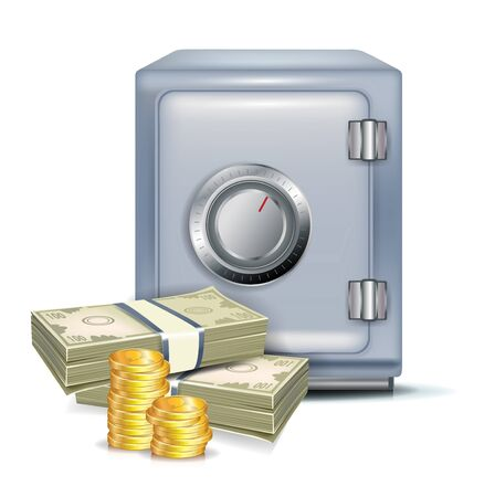 safe with money and coins on white Vector