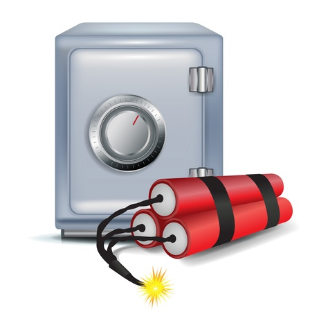 money safe and dynamite on white Stock Vector - 11655487