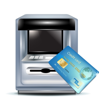 storage unit: atm machine and credit card on white