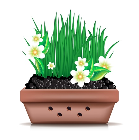 peat: garden clay pot and fresh grass with flowers on white Illustration