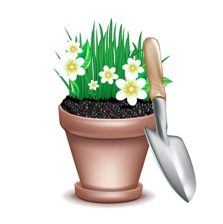 garden clay pot and fresh grass with flowers on white Vector
