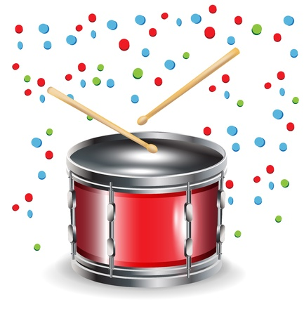 drums with sticks and celebration mood isolated on white Vector