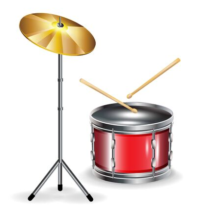 drums with sticks and cymbal isolated on white Vector
