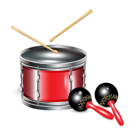 drums with sticks and maracas isolated on white