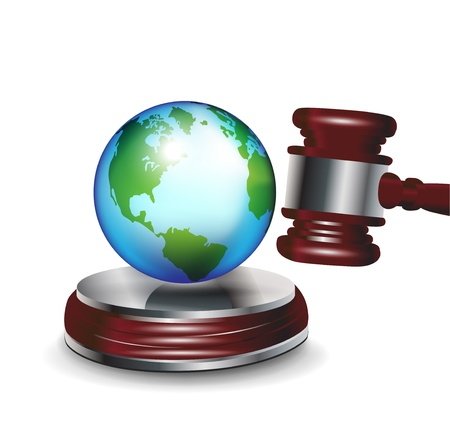 ecological problem: judge gavel and earth globe isolated on white
