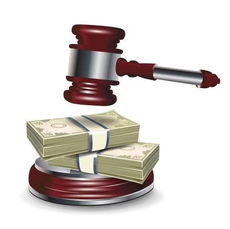 Juge marteau et de l'argent isolé sur blanc Banque d'images - 13673481