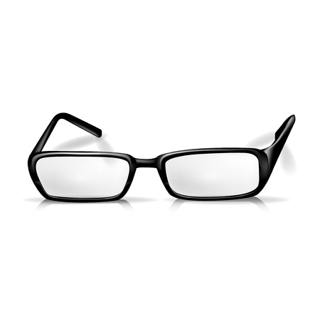 myopia: black reading glasses isolated on white Illustration
