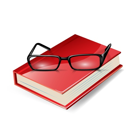optical glass: reading glasses on red book isolated on white