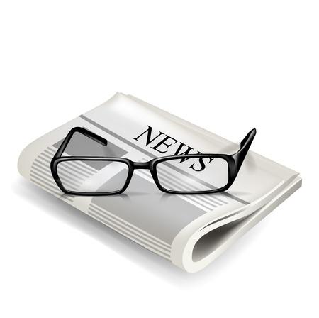lezing: een leesbril en een krant op wit wordt geïsoleerd