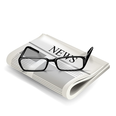 news event: reading glasses and newspaper isolated on white