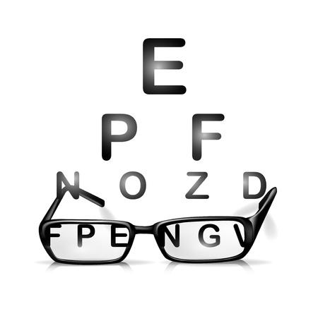 miopia: occhiali e prova gli occhi isolato su bianco