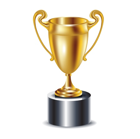 gold trophy isolated on white Vector