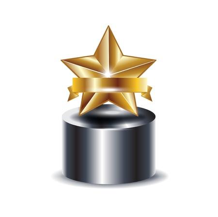 Trophäe mit goldener Stern auf weiß isoliert Standard-Bild - 13673425