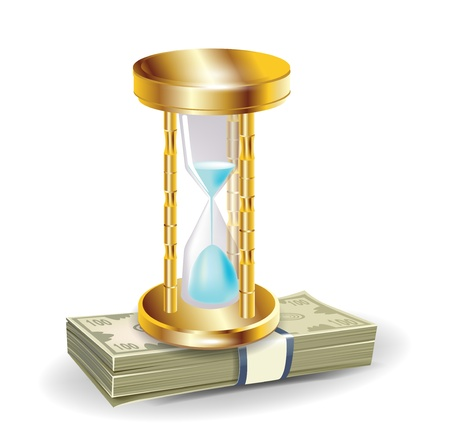 golden hourglass on money stack isolated on white Vector