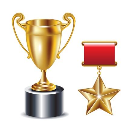 felicitaciones: trofeo de oro y una estrella de oro aislado en blanco