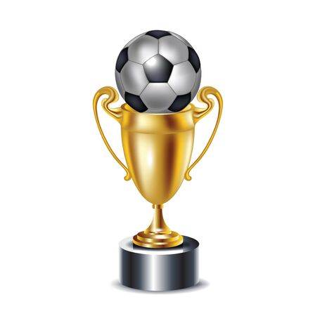 golden trophy and soccer ball isolated Stock Vector - 13673427