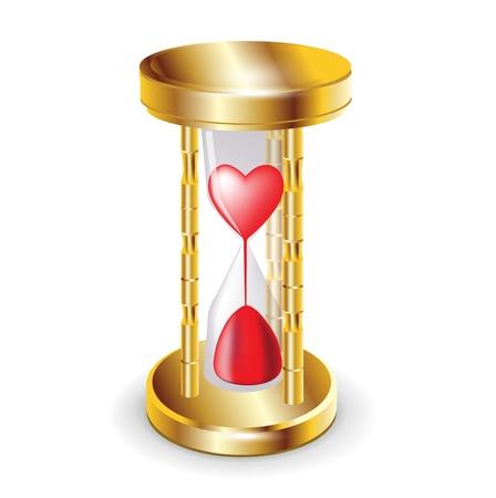 reloj de arena: Golder reloj de arena y el corazón rojo aislado en blanco