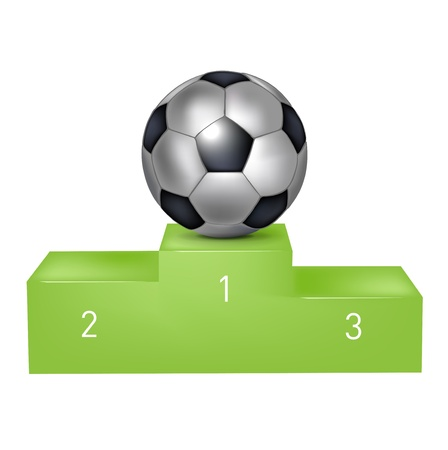 soccer ball football on green pedestal isolated Vector