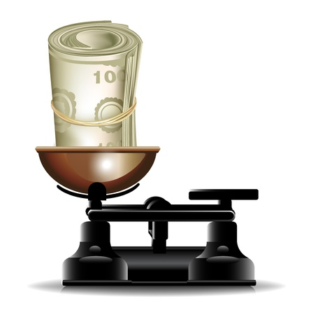 money roll and scales isolated Vector