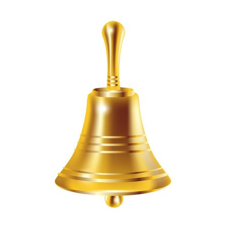 reverberate: single bronze bell isolated on white